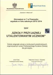 Certyfikat - Szkoły przyjaznej utalentowanym uczniom